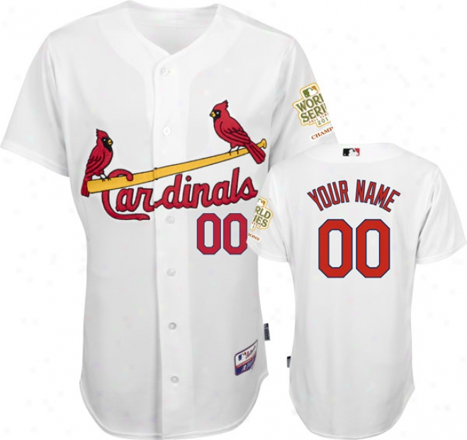 St. Louis Cardinals Jersey: Big & Tall Personalized Home White Authentic Cool Baseã¢â�žâ¢ Jersey Wiith 2011 World Series Champions Patch