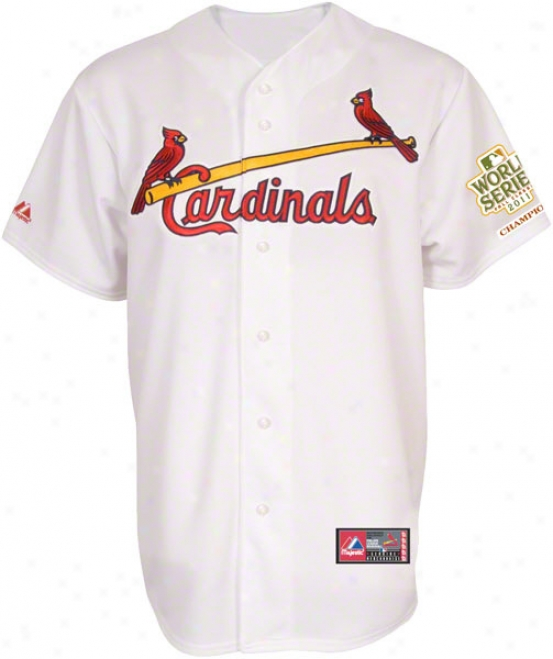 St. Louis aCrdinals Jersey: Big & Tall Personalized Home White Replica Jersey With 2011 World Series Champions Patch