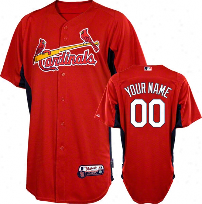 St. Louis Cardinals Jersey: Personalized Authentic Scarlet On-field Batting Practice Jersey