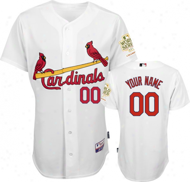St. Louis Cardinals Jersey: Personalized Home White Authentic Cool Baseã¢â�žâ¢ Jersey With 2011 World Series Champions Patch