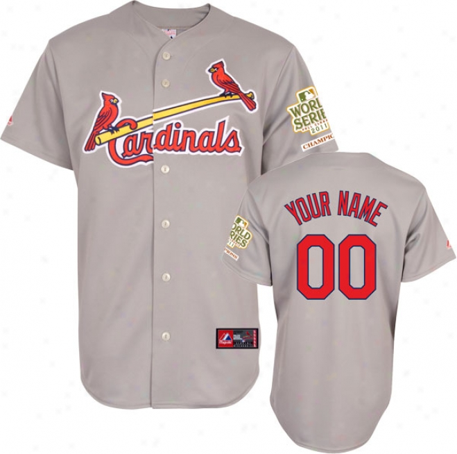 St. Louis Cardinals Jersey: Personalized Road Grey Replica Jersey With 2011 World Series Champions Patch