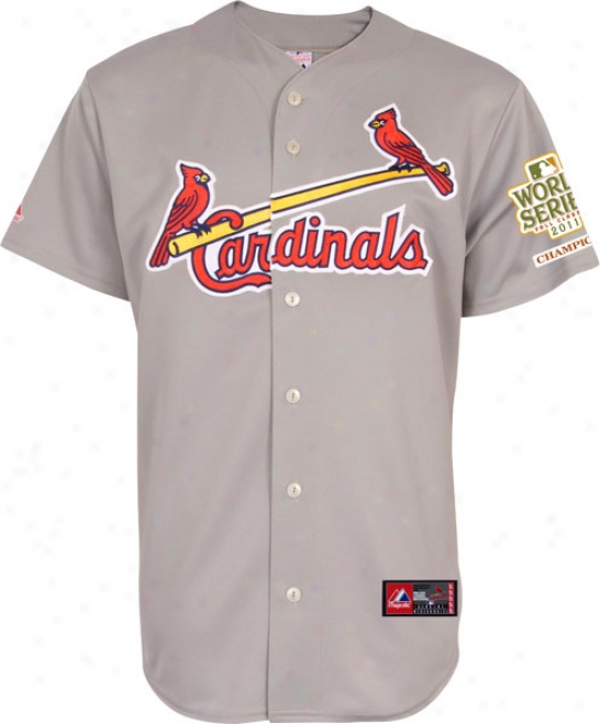 St. Louis Cardinals Jersey: Road Grey Replica Jersey With 2011 World Series Champions Patch
