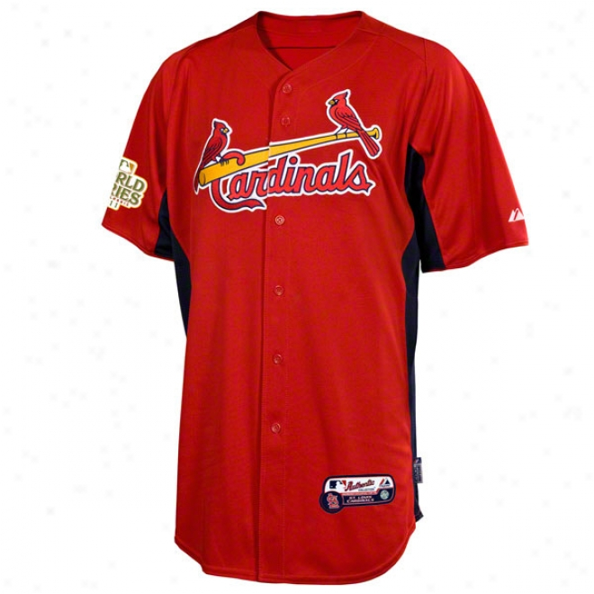 St. Louis Cardinals Jersey: Scarlet Authentic Cool Baseã¢â�žâ¢ On-field Batting Practice Jersey With 2011 World Series Partckipant Patch