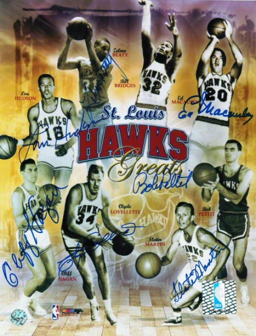 St. Louis Hawks Autographed 8x10 Collage Signed By Bob Pettit, Lou Hudson, Easy Ed Macauley, Zelmo Beaty, Cliff Hagan, Clyde Lovellette And Slater Martin
