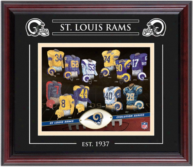 St. Louis Rams - Evolution - Framed 8x10 Collage With Laser Etching