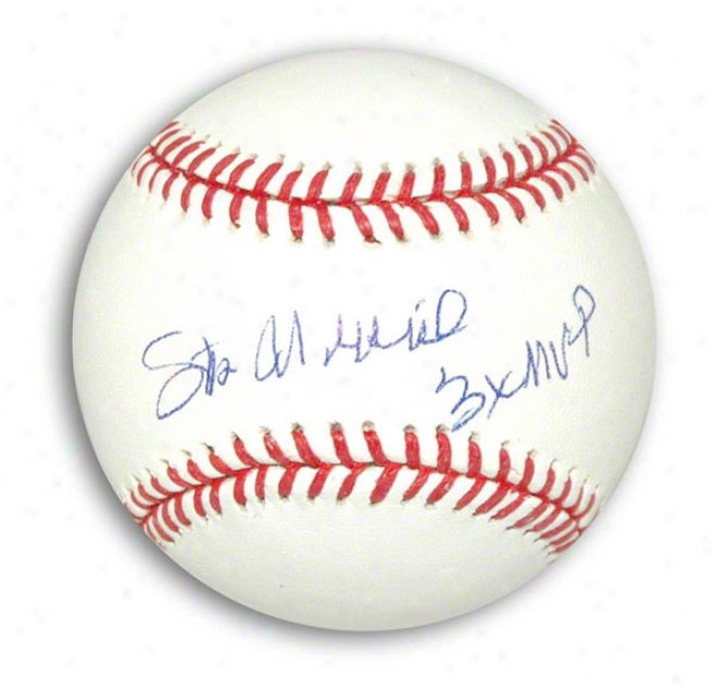 Stan Musial Autographed Mlb Baseball Inscribed 3x Mvp