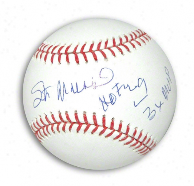 Stan Musial Autographsd Mlb Baseball Inscribed Hof 69 And 3x Mvp