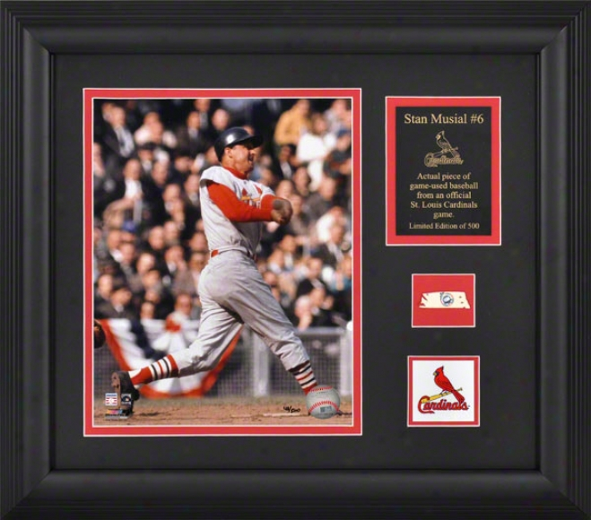 Stan Musial St. Louis Cardinals Framed 8x10 Photograph In the opinion of Game Used Baseball Piece And Descriptive Plate