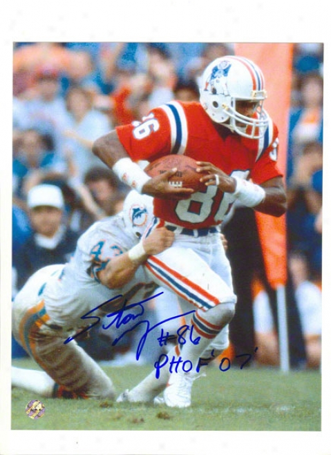 Stanley Morgan Autographed New England Patriots 8x01 Photo Inscribed &quotpats Hof&quot