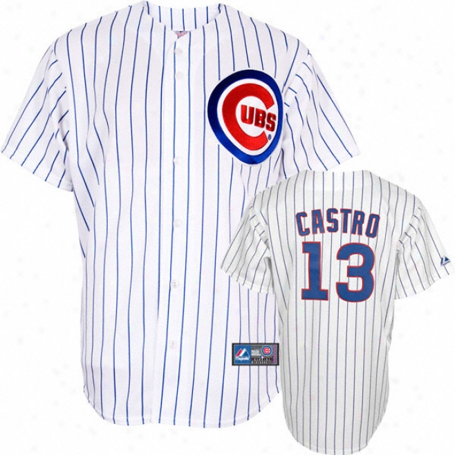 Starlin Castro Jersey: Adult Majestic Home White Pinstripe Autograph copy #13 Chicago Cubs Jersey