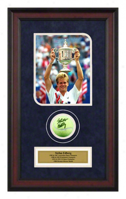 Stefan Edberg Framed Autographed Tennis Ball With Photo