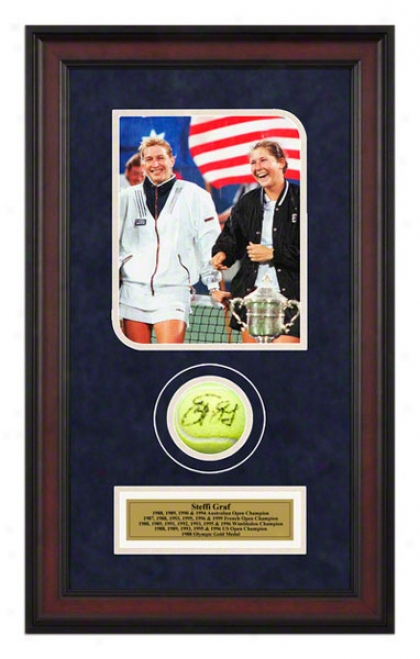 Steffi Graf Us Open Framed Autographed Tennis Ball With Photo