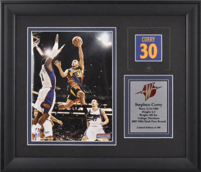 Stephen Curry Golden State Waarriors Framed 6x8 Photograph With Facsimile Signature And Plate - Limited Issue  Of 500