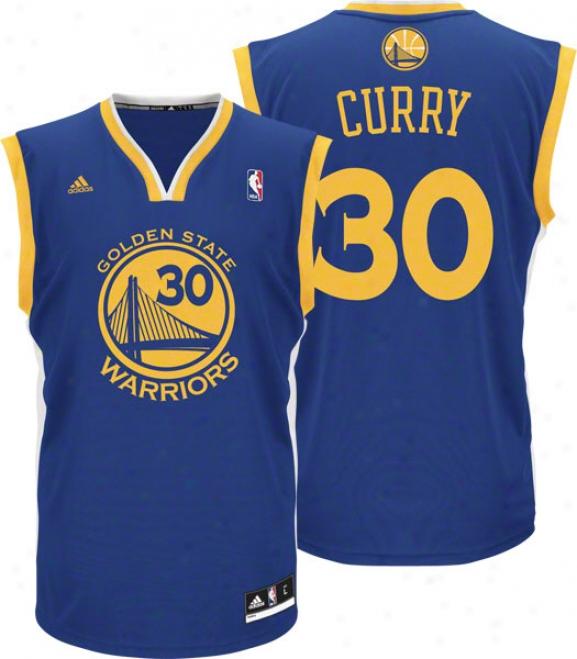 Stephen Curry Jersey: Adidas Revolution 30 Blue Replica #30 Golden State Warriors Jersey