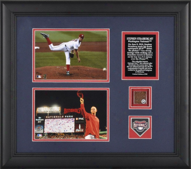 Stephen Strasburg Washington Nationals Framed 5x7 Photographs With Plate, Medallion And Debut Dirt - Le Of 500
