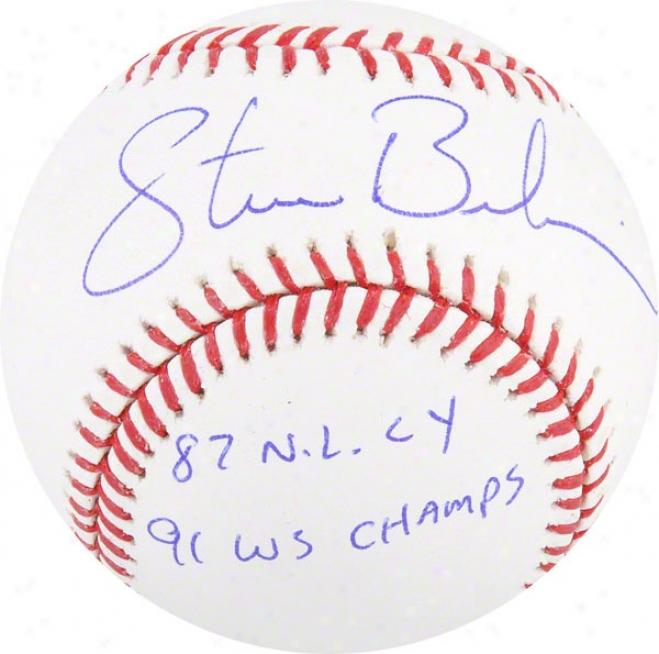 Steve Bedrosian Autographed Baseball  Details: Philadelphia Phillies, 87 Cy / 91 Ws Champs Inscription