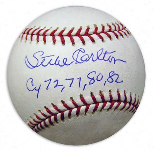 Steve Carlton Autographed Baseball  Details: Cy72....82 Inscription