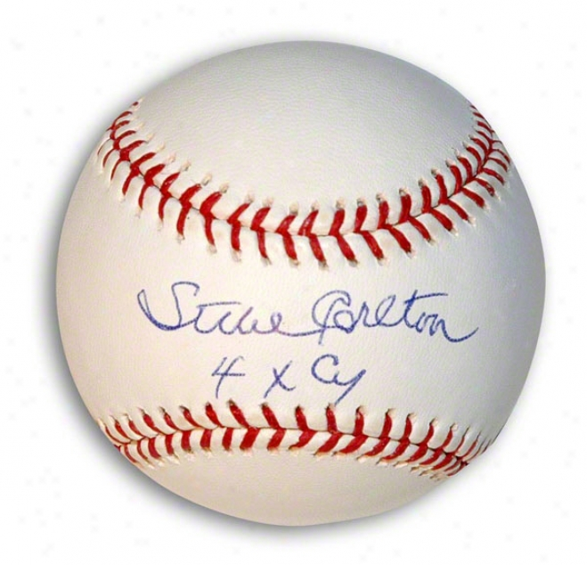 Steve Carlton Autographed Baseball Inscribed &quot4x Cy&quot