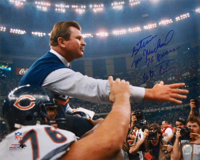 Steve Mccmichael Autographed Photograph  Details: Chicago Bears, 16x20, Carryinf Ditka