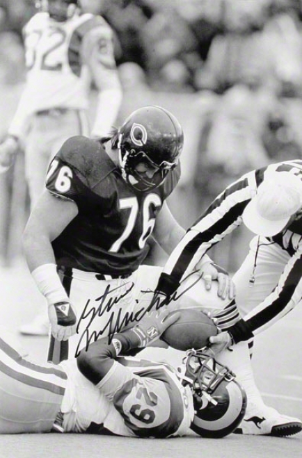 Steve Mcmichael Autographed Photograph  Details: Chicago Bears, Dickerson Tackle, 12x18