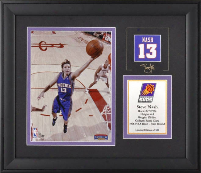 Steve Nash Phoenix Suns Framed 6x8 Photograph With Facsimile Signature And Lamina - Limited Impression Of 500