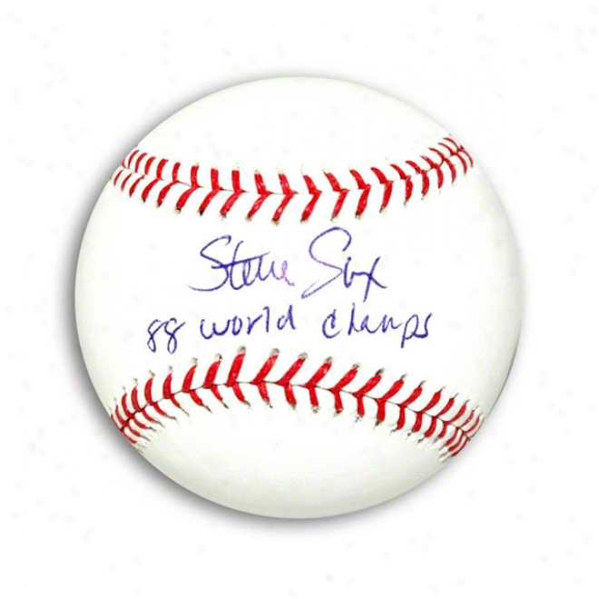Steve Sax Autogrwphed Mlb Baseball Inscribed 88 World Champs