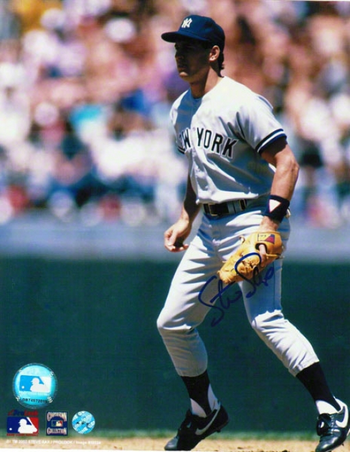 Steve Sax New York Yankees Autographed 8x10 Photo In The Field