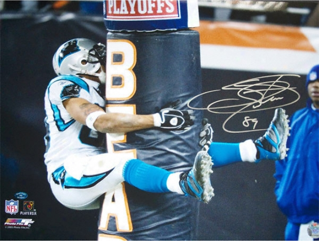 Steve Smith Carolina Panthers - Hugging The Goalpost - Autographed 16x20 Photograph