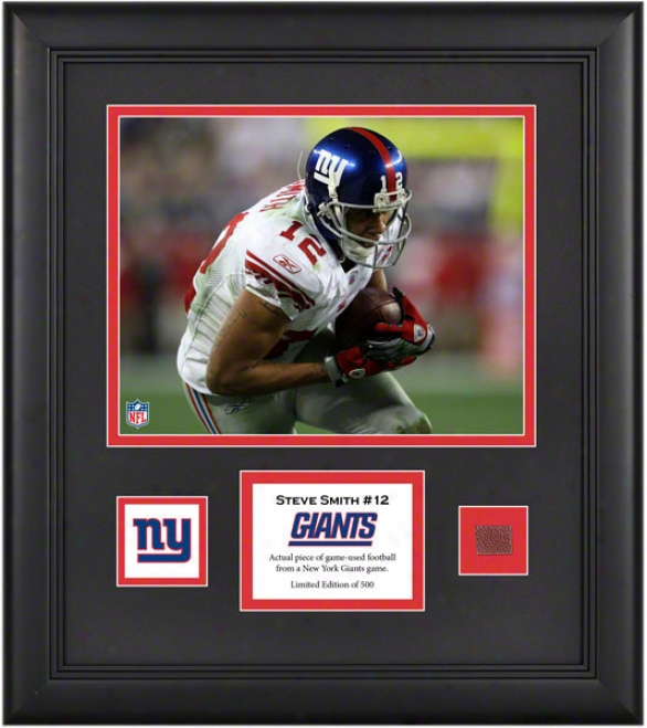 Steve Smith Framed 8x10 Photograph  Details: New York Giants, Woth Game Used Football Piece And Descriptive Plate
