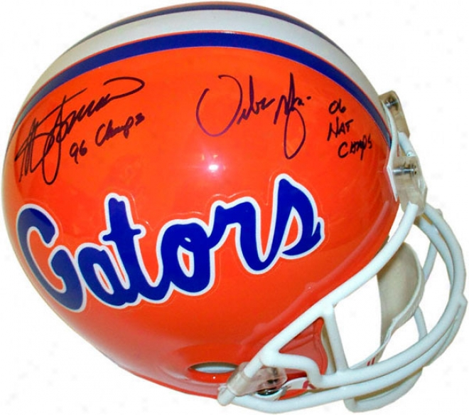 Steve Spurrier And Urban Meyer Fllorida Gators Dual Autographed Helmet With Inscriptions