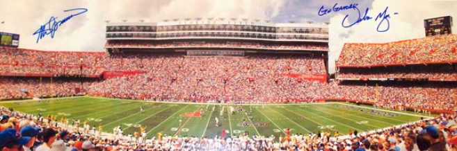 Steve Spurrier And Urban Meyer Florida Gators - Florida Fielc - Dual Autograpued 13.5x39 Panoramic Photograph By the side of 06 Natl Champs Inscription