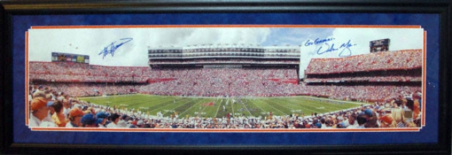 Steve Spurrer And Urban Meyer Florida Gators - Renovated Swamp - Framed Dual Autographed 13.5x39 Panoramic Photo With 06 Natl Champs Inscription