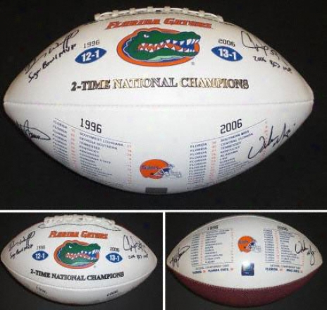 Steve Spurrier, Danny Wuerffel, Urban Meyer And Chris Leak Florida Gators 4x Autographed Football With 2x Champs Inscription