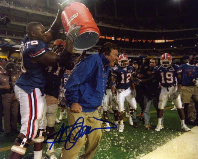 Steve Spurrier Florida Gators Autographed 8x10 Gatorade Dump Photo