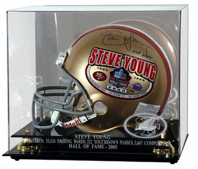 Steve Young Hall Of Fame 2005 Gklden Classic Helmet Display Case