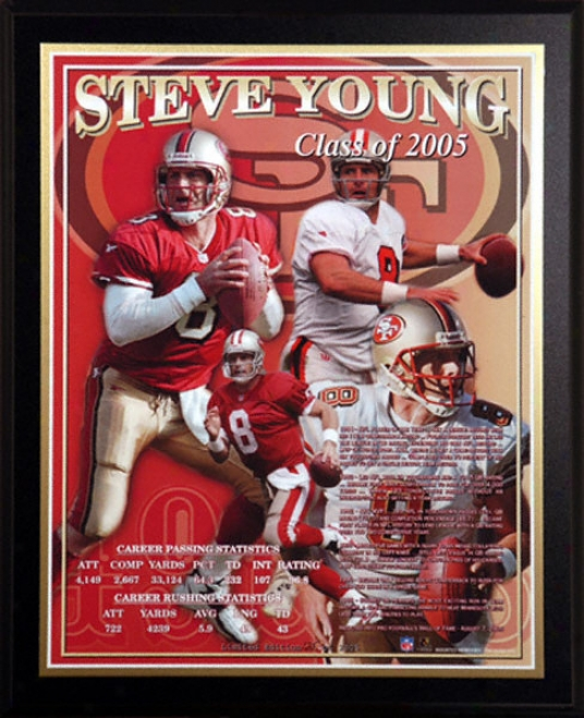 Steve Young Hall Of Fzme 2005 Healy Plaque