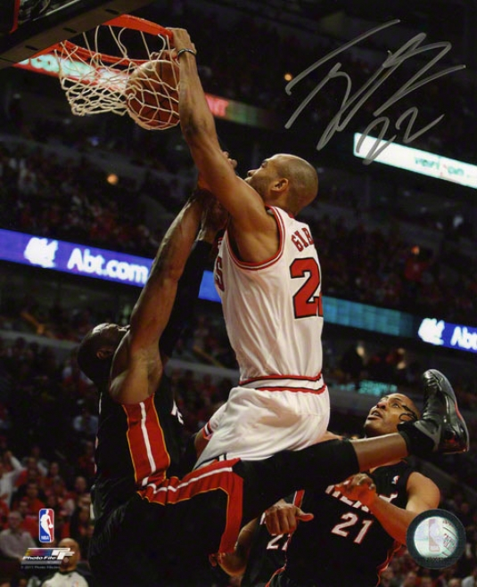 Taj Gibson Autographed 8x10 Photograph  Details: Chicago Bulls, Dunking Over Wade