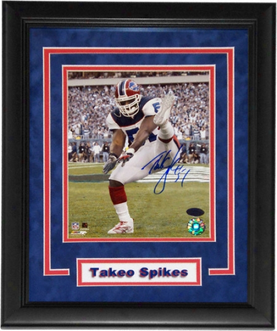 Takeo Spikes Buffalo Bills - Celebration - Form Framed Autogrzphed 8x10 Photograph