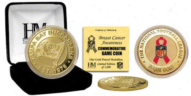 Tampa Bay Buccaneers Breast Cancer Awareeness 24kt Gold Game Coin