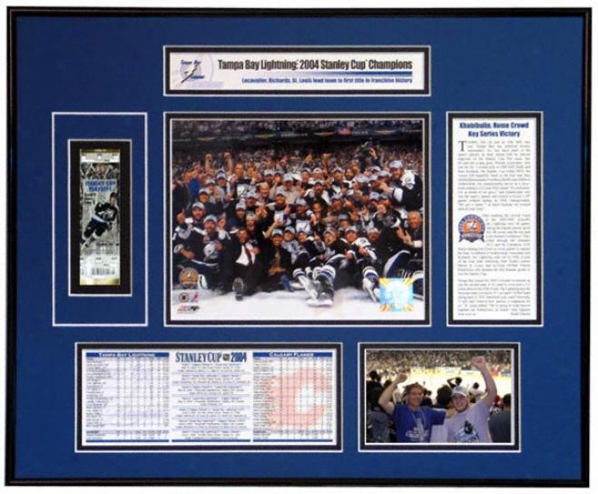 Tampa Bay Lightning - Team Celsbration - 2004 Stanley Cup Ticket Frame