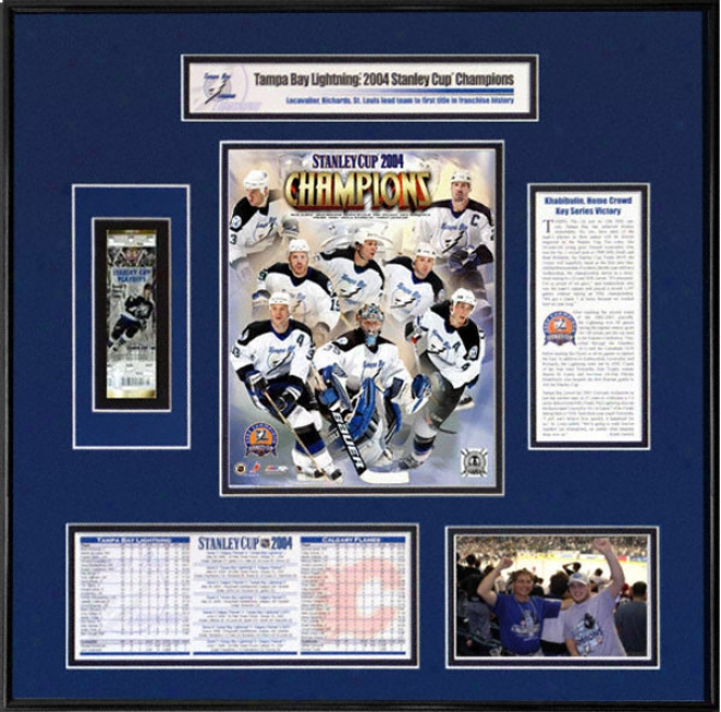 Tampa Bay Lightning - Team Collage - 2004 Stanley Cup Ticket Frame