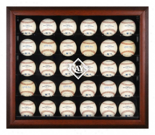 Tampa Bay Rays Mahogany Framed 30-ball Logo Display Case