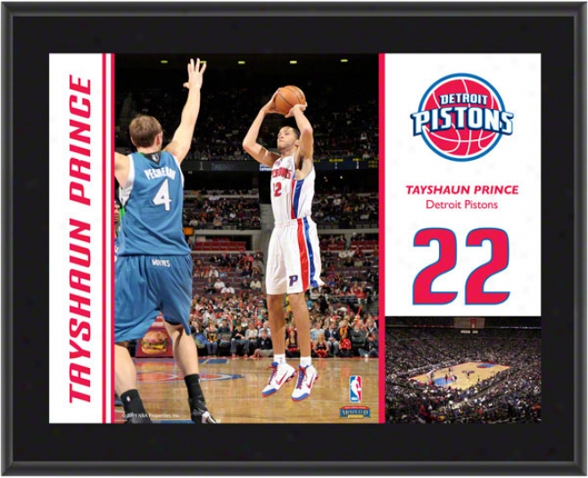 Tayshaun Prince Plaque  Details: Detroit Pistons, Sublimated, 10x13, Nba Plaque