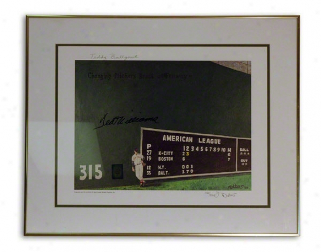 Ted Williams Autographed Framed Lithograph: Limited Impression &quotteddy Ballgame&quot