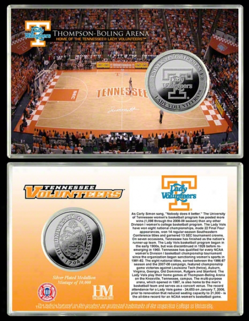 Tennessee Volunteers Lady Vols Thompson-boling Arena Silver Coin Card