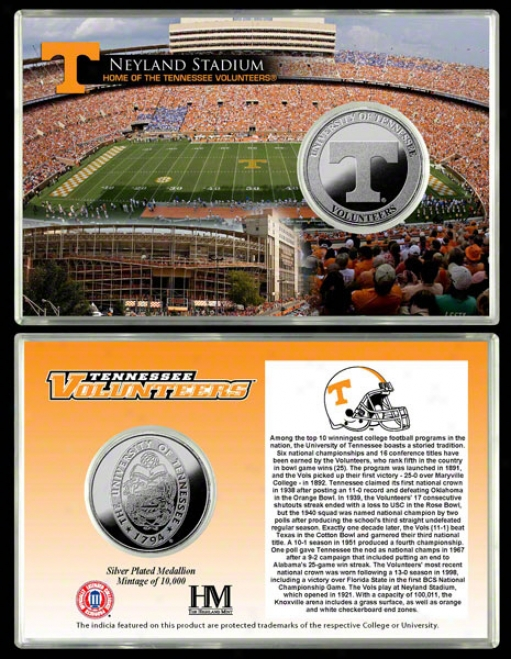 Tennesswe Volunteers Neyland Stadium Silver Coin Card