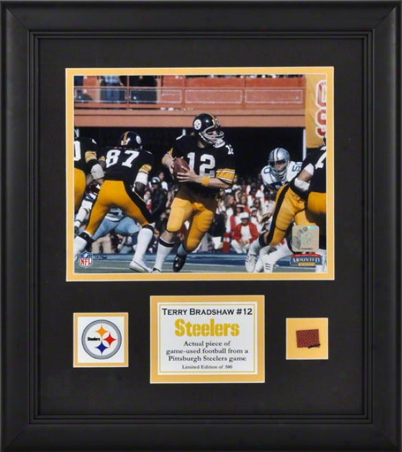 Terry Bradshaw Framed 8x10 Photograph  Details: Pittsburgh Steelers, With Game Used Football Piece And Descriptive Dish