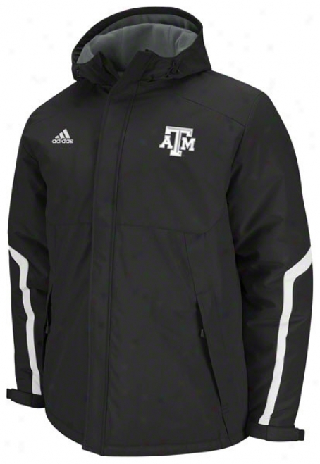 Texas A&m Aggies Adidas Black Football Sideline Heavyweight Hooded Jacket