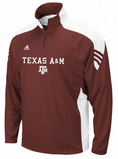 Texas A&m Aggies Adidas Maroon Scorch 2011 Coaches Football Sideline 1/4 Zip Pullover Jacket