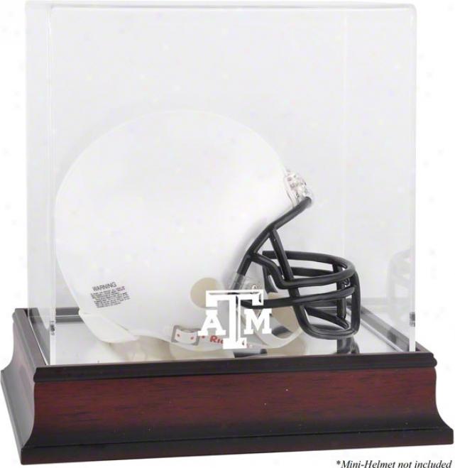 Texas A&m Aggies Logo Mini Helmet Display Case  Details: Mahogany, Mirror Bottom